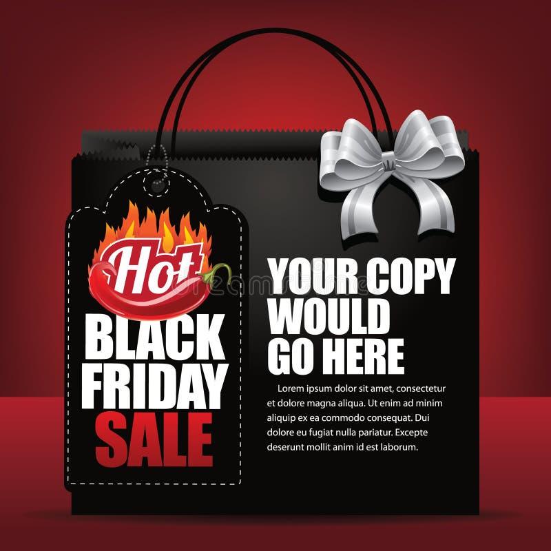 Etichetta di vendita di Black Friday e fondo caldi del sacchetto della spesa illustrazione di stock