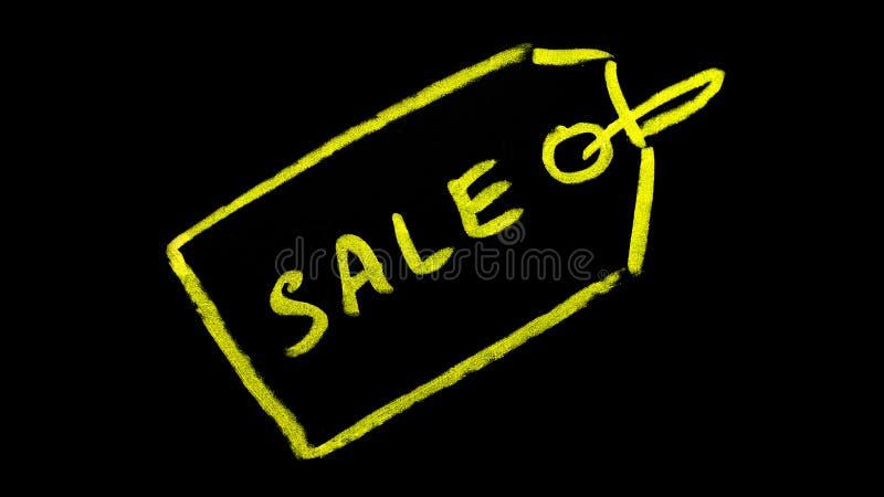 Etichetta di vendita scritta sulla lavagna fotografia stock