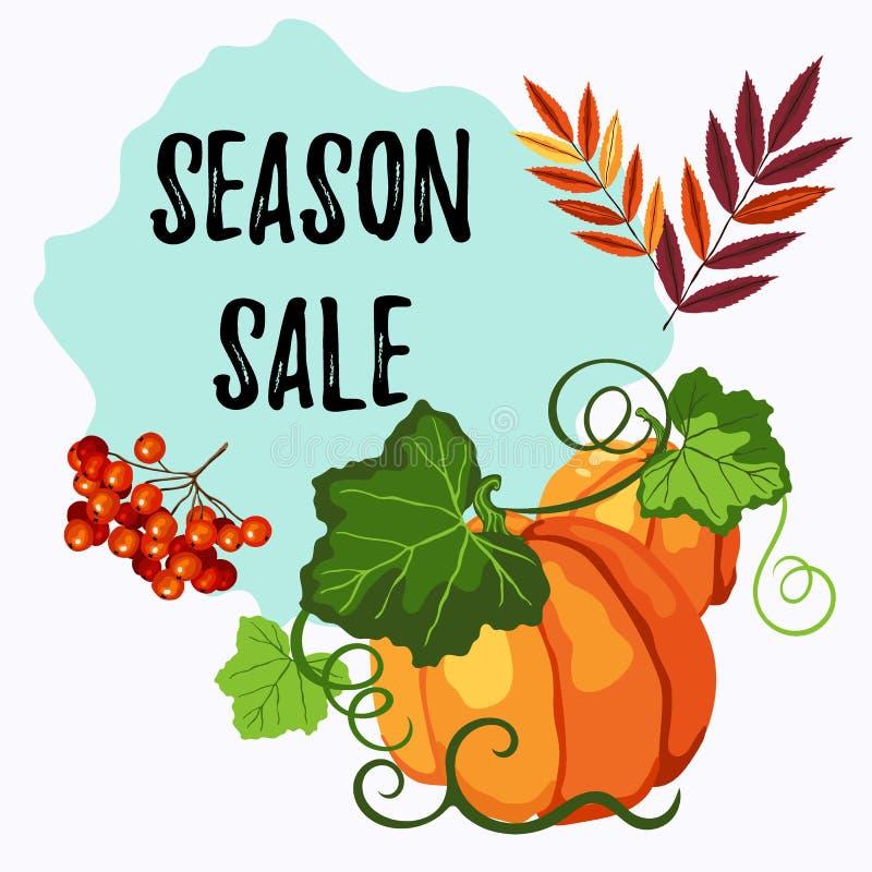 Etichetta di vendita di stagione con la zucca, le foglie della sorba e le bacche royalty illustrazione gratis