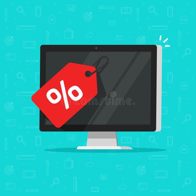 Etichetta di vendita sull'illustrazione di vettore dello schermo di computer, pc piano del fumetto con la promozione o offerta di illustrazione di stock