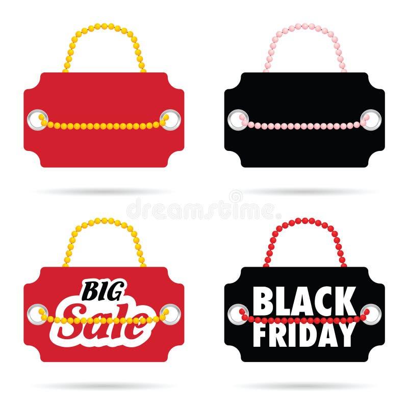 Etichetta di venerdì posteriore e di grande vendita su illustrazione di colore royalty illustrazione gratis