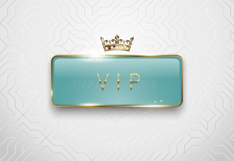 Etichetta di vetro verde chiaro di VIP con le scintille dorate della struttura e corona su fondo bianco Modello lucido premio Lus royalty illustrazione gratis