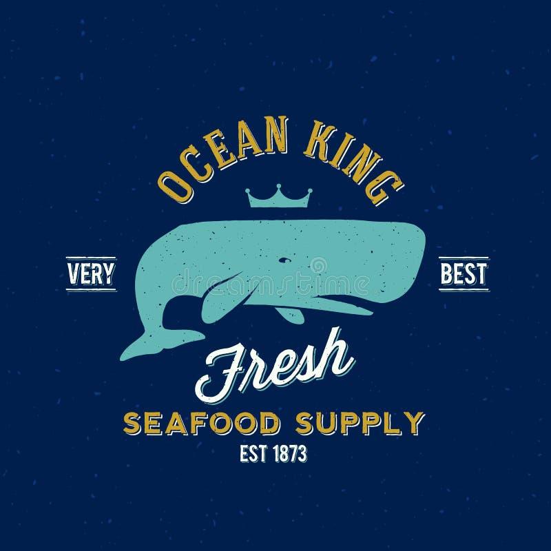 Etichetta di vettore di re Seafood Supplyer Retro dell'oceano o illustrazione vettoriale