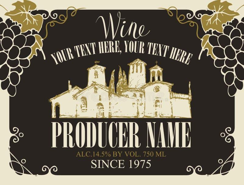 Etichetta di vettore per vino con l'iscrizione calligrafica, il paesaggio disegnato a mano del villaggio europeo ed i mazzi di uv illustrazione di stock