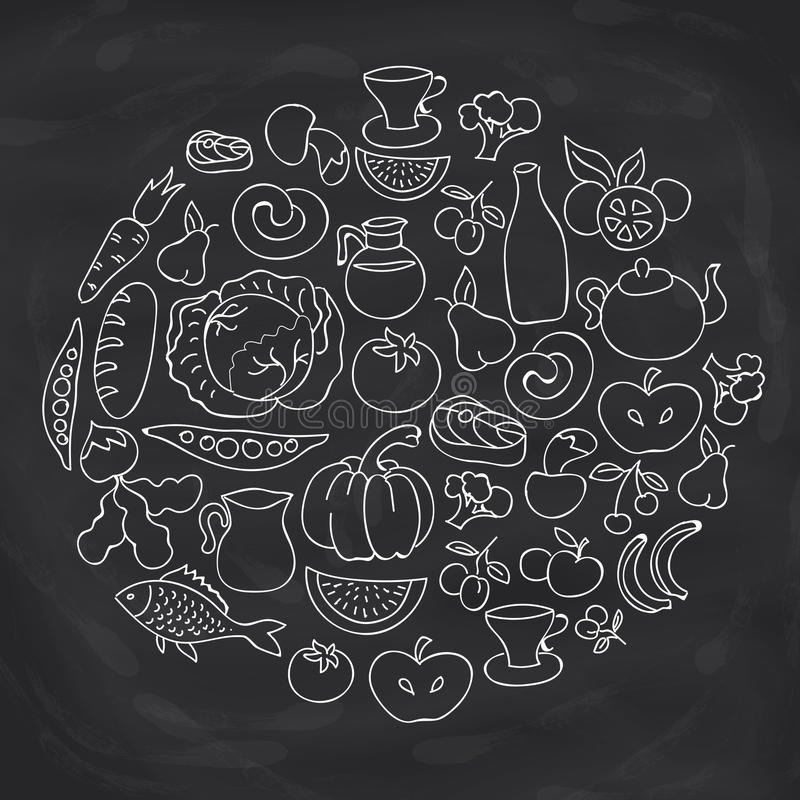 Etichetta disegnata a mano dell'anello dell'alimento Vector la raccolta dell'icona degli alimenti del disegno del bordo di gesso  illustrazione vettoriale