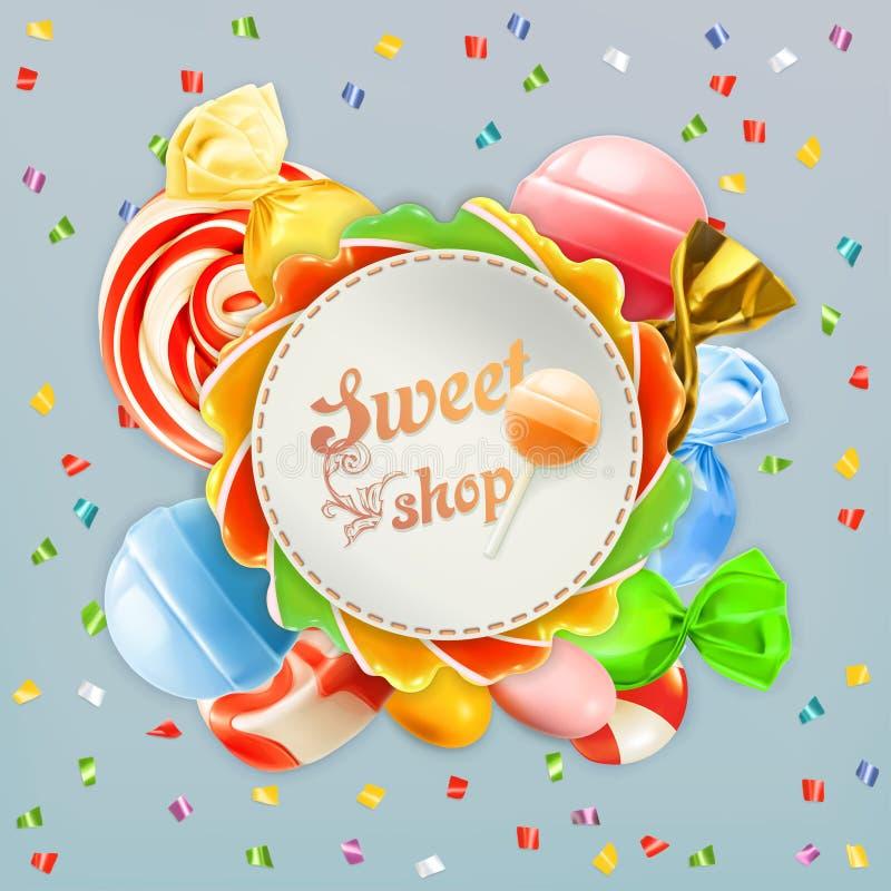 Etichetta dolce della caramella del negozio illustrazione di stock