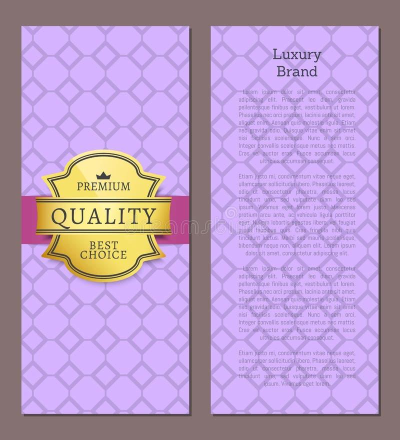 Etichetta dorata di marca di lusso che approva la qualità illustrazione vettoriale