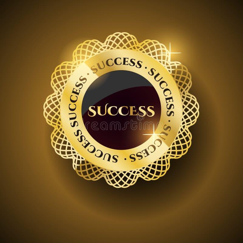 Etichetta dorata di successo illustrazione di stock