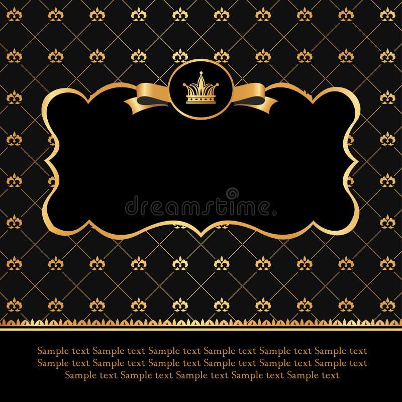 Etichetta dorata sul fondo del nero del damasco illustrazione di stock