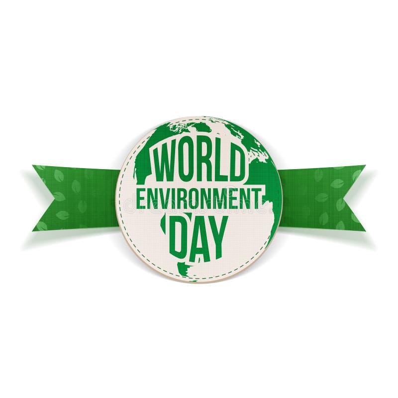 Etichetta e nastro di consapevolezza di Giornata mondiale dell'ambiente illustrazione vettoriale