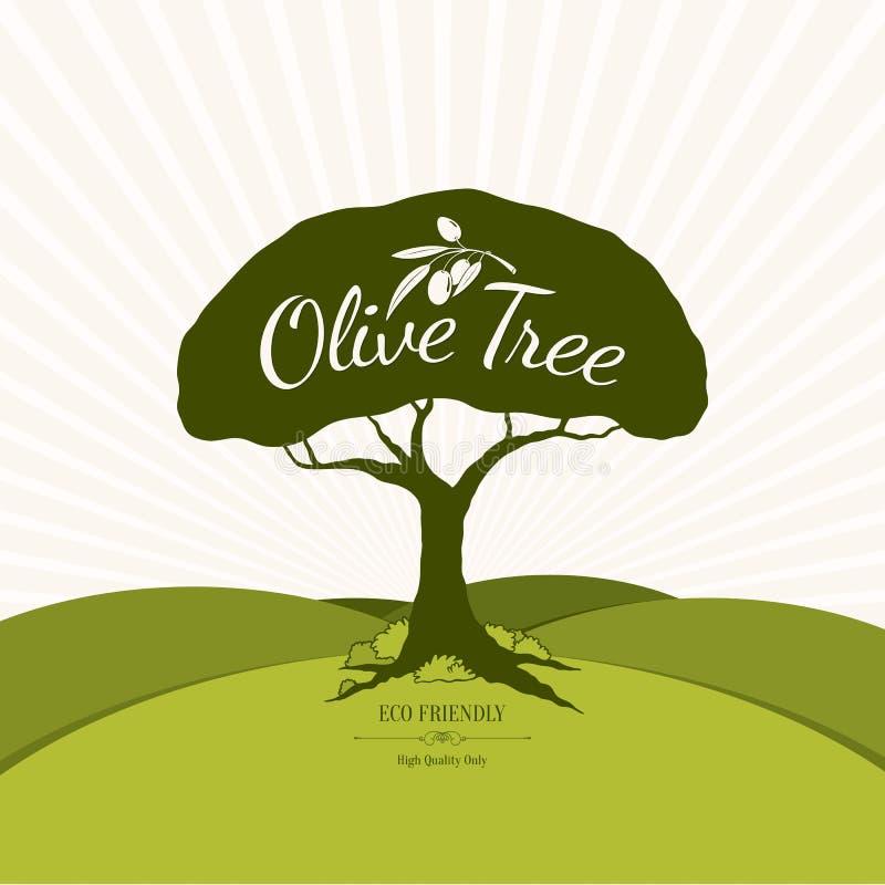 Etichetta e progettazione verde oliva di logo illustrazione vettoriale