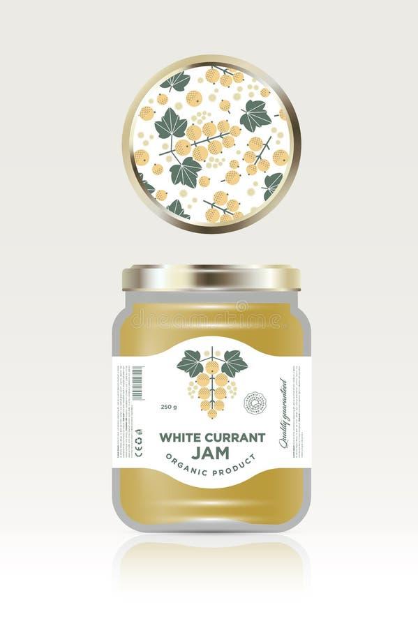 Etichetta ed imballaggio dell'inceppamento del ribes bianco Può il barattolo del coperchio con il modello della frutta royalty illustrazione gratis