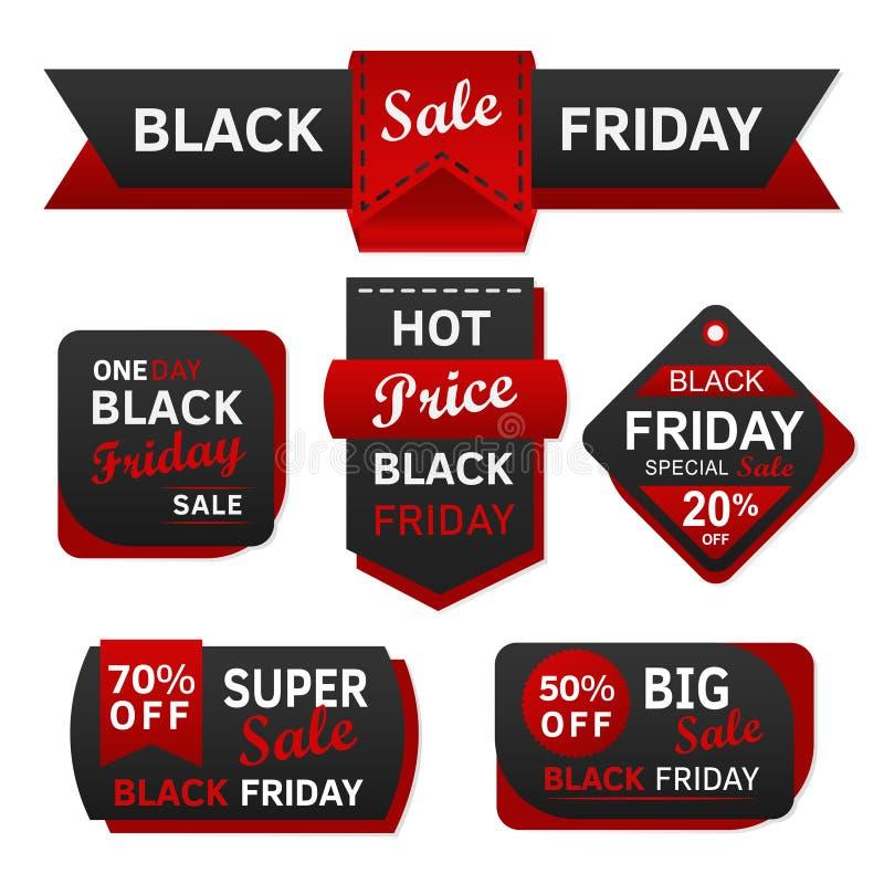 Etichetta ed etichetta nere di vendita di venerdì immagini stock