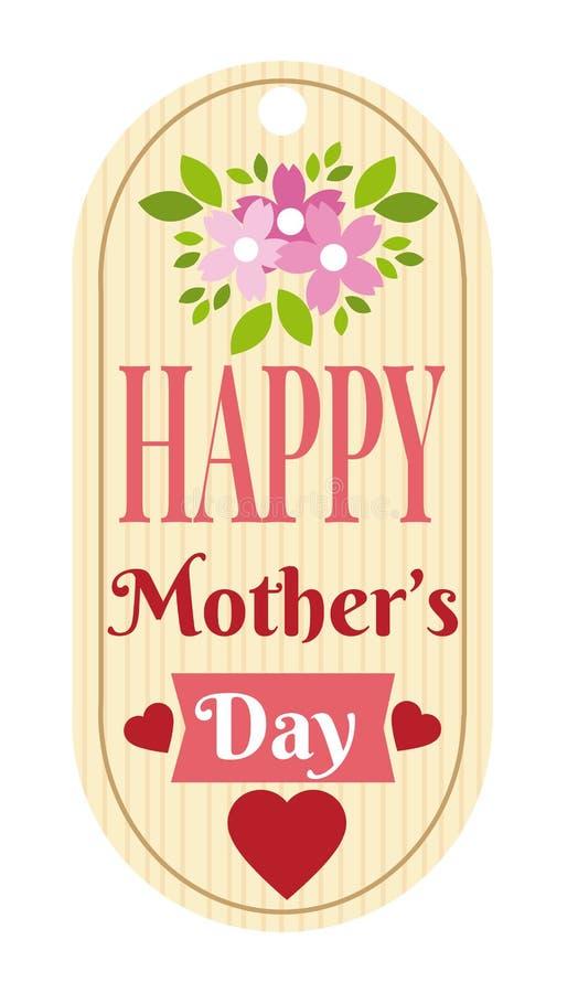 Etichetta felice di giorno di madri illustrazione vettoriale