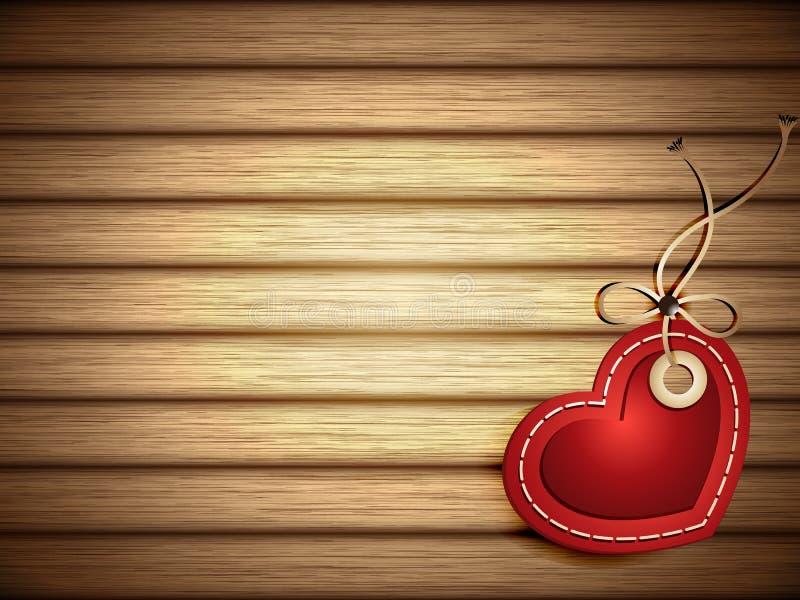 Etichetta a forma di del cuore di carta rosso su fondo di legno illustrazione vettoriale