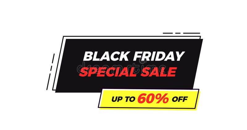 Etichetta geometrica della struttura di vendita speciale di Black Friday Fondo piano dell'illustrazione di vettore con le retro f royalty illustrazione gratis