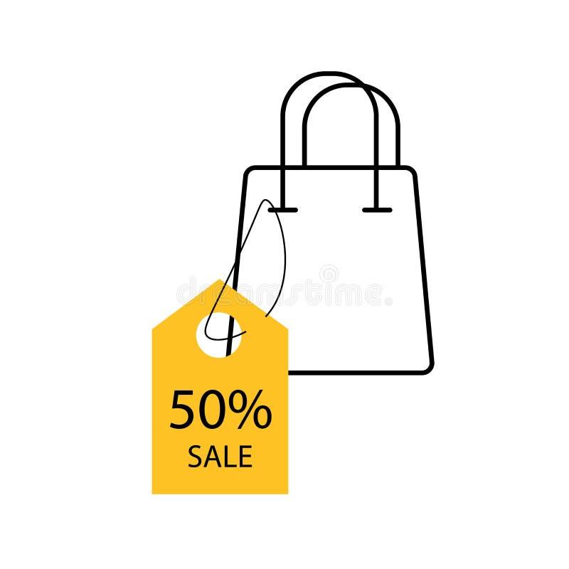Etichetta gialla con l'icona della borsa del colpo progettazione del modello dell'insegna di vendita a ribasso di 50% Offerta spe illustrazione vettoriale