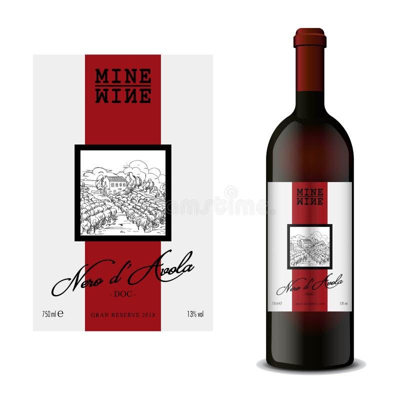 Etichetta moderna del vino di vettore con la bottiglia del vino rosso illustrazione vettoriale