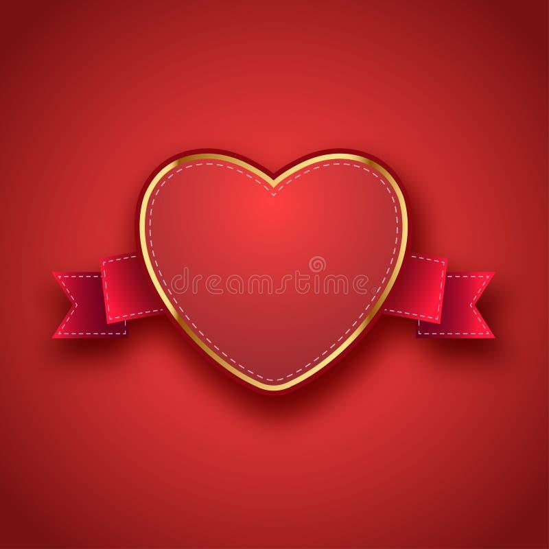 Etichetta, etichetta, nastro con il giorno del ` s del biglietto di S. Valentino royalty illustrazione gratis