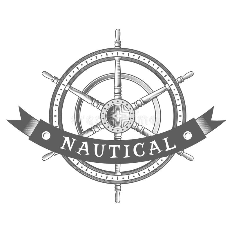 Etichetta nautica di vettore elemento d'annata del timone, dell'icona e di progettazione illustrazione vettoriale