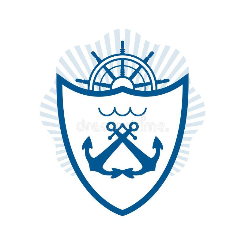 Etichetta nautica di vettore elemento d'annata di logo, dell'icona e di progettazione illustrazione vettoriale
