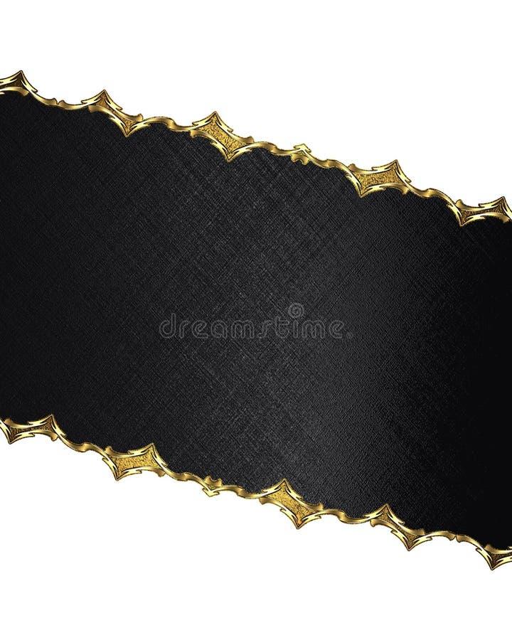 Etichetta nera con il confine dell'oro Elemento per progettazione Mascherina per il disegno copi lo spazio per l'opuscolo dell'an fotografia stock libera da diritti