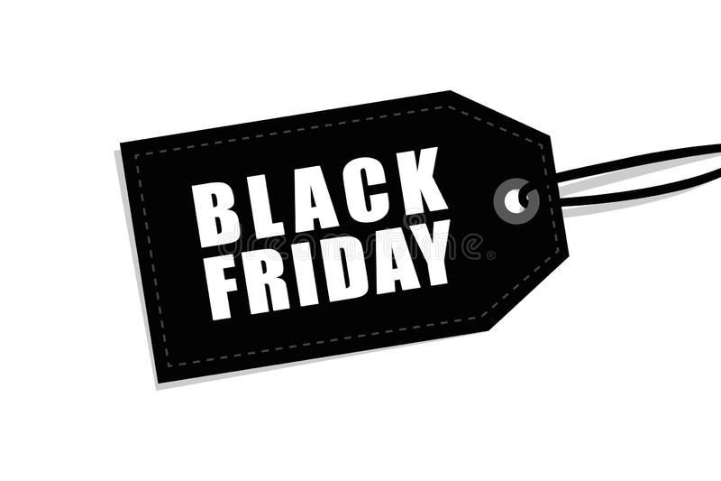 Etichetta nera di venerdì isolata su fondo bianco per la promozione illustrazione di stock