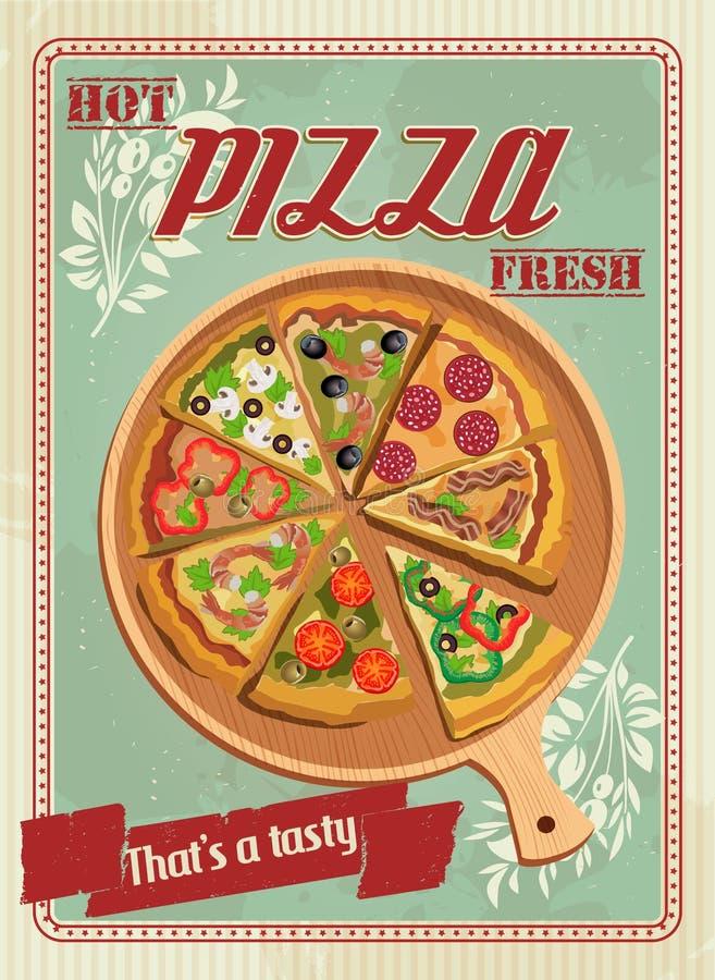 Etichetta o manifesto della pizza di vettore illustrazione di stock