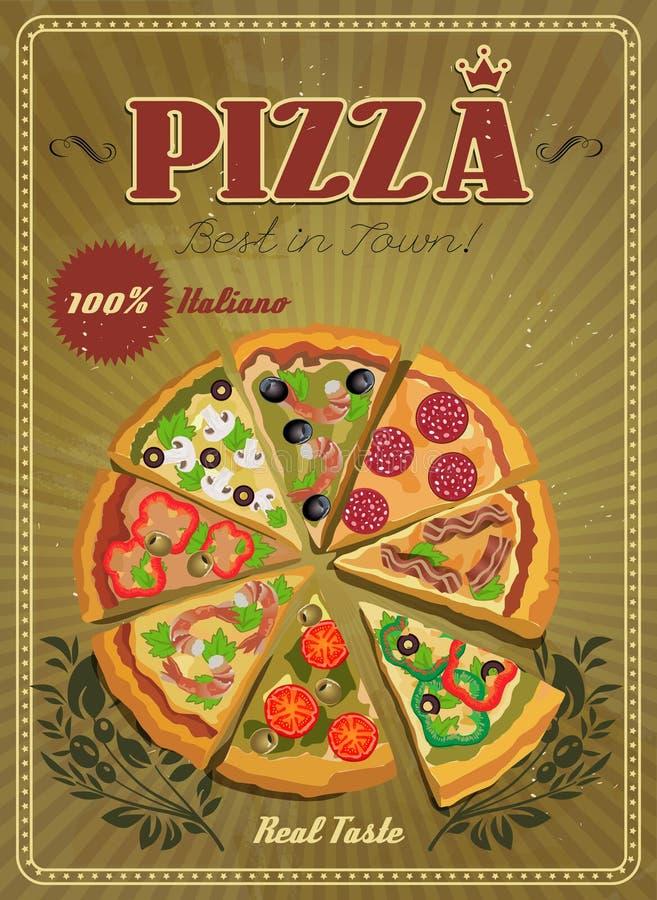 Etichetta o manifesto della pizza di vettore illustrazione vettoriale