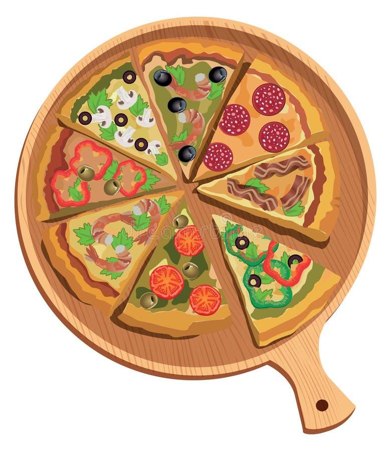 Etichetta o manifesto della pizza di vettore Fondo isolato royalty illustrazione gratis