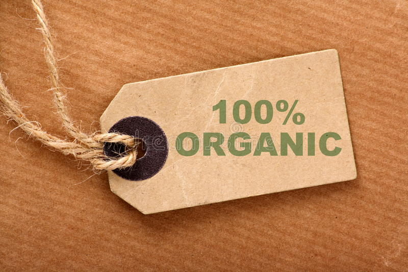 Etichetta organica di 100% fotografie stock libere da diritti