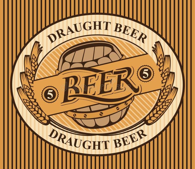 Etichetta ovale per la birra alla spina con le orecchie di grano illustrazione di stock