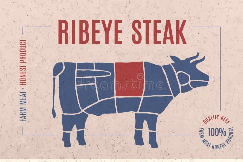 Etichetta per carne con la bistecca di Ribeye del testo illustrazione di stock