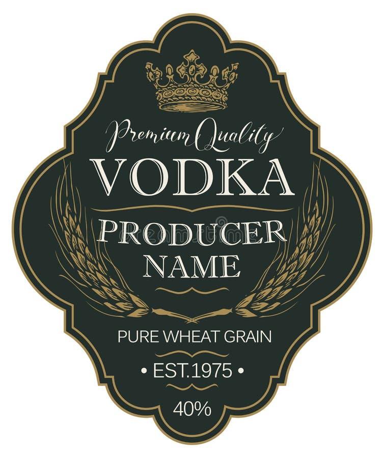Etichetta per vodka con le orecchie di grano e della corona illustrazione vettoriale
