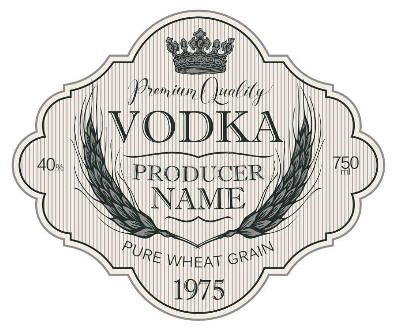 Etichetta per vodka con le orecchie di grano e della corona royalty illustrazione gratis