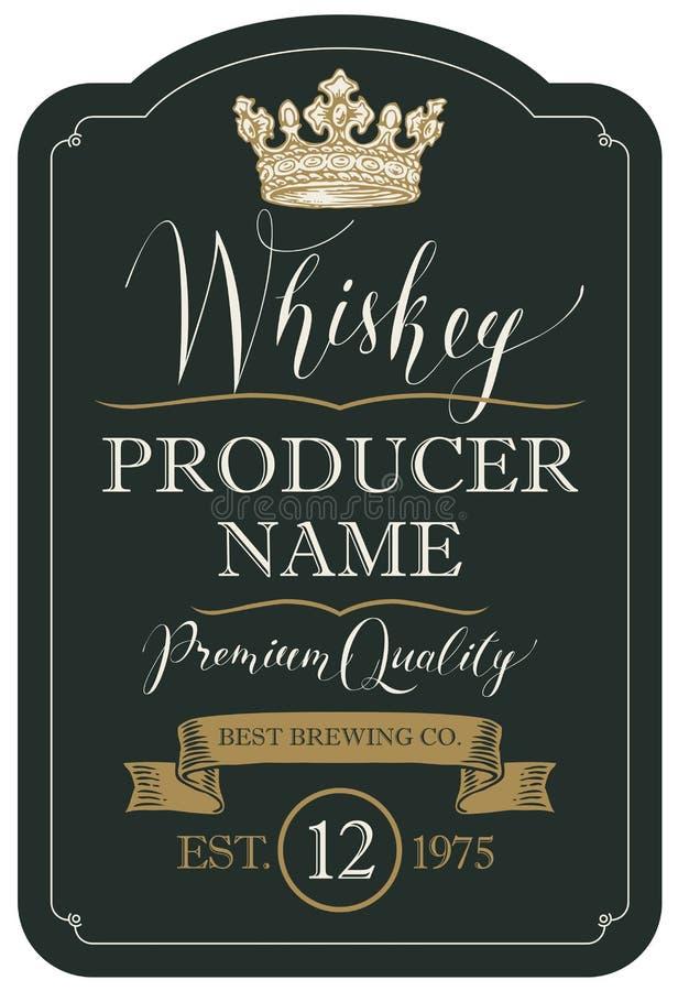 Etichetta per whiskey con la corona ed il nastro illustrazione di stock