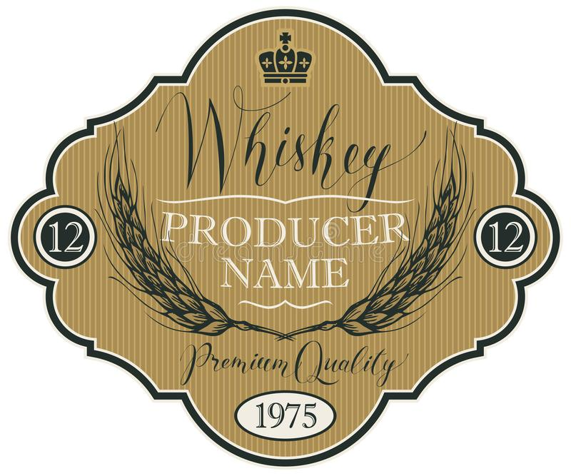 Etichetta per whiskey con le orecchie di orzo illustrazione di stock