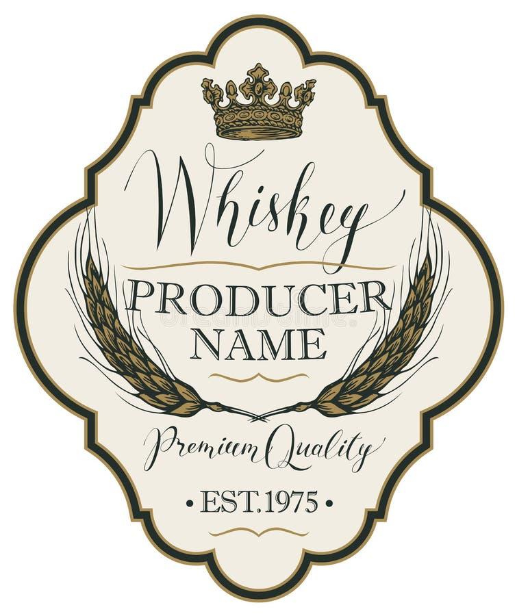 Etichetta per whiskey con le orecchie di orzo illustrazione vettoriale