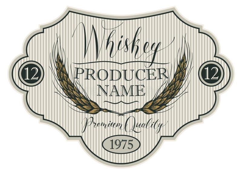 Etichetta per whiskey con le orecchie di orzo royalty illustrazione gratis