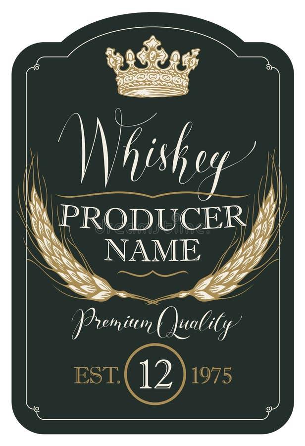 Etichetta per whiskey con le orecchie di orzo e della corona illustrazione di stock