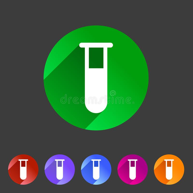 Etichetta piana di logo di simbolo del segno di web dell'icona di vetro della provetta illustrazione di stock