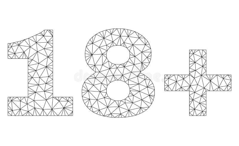 Etichetta poligonale del testo della rete 18 illustrazione di stock