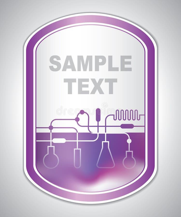 Etichetta porpora astratta del laboratorio illustrazione vettoriale