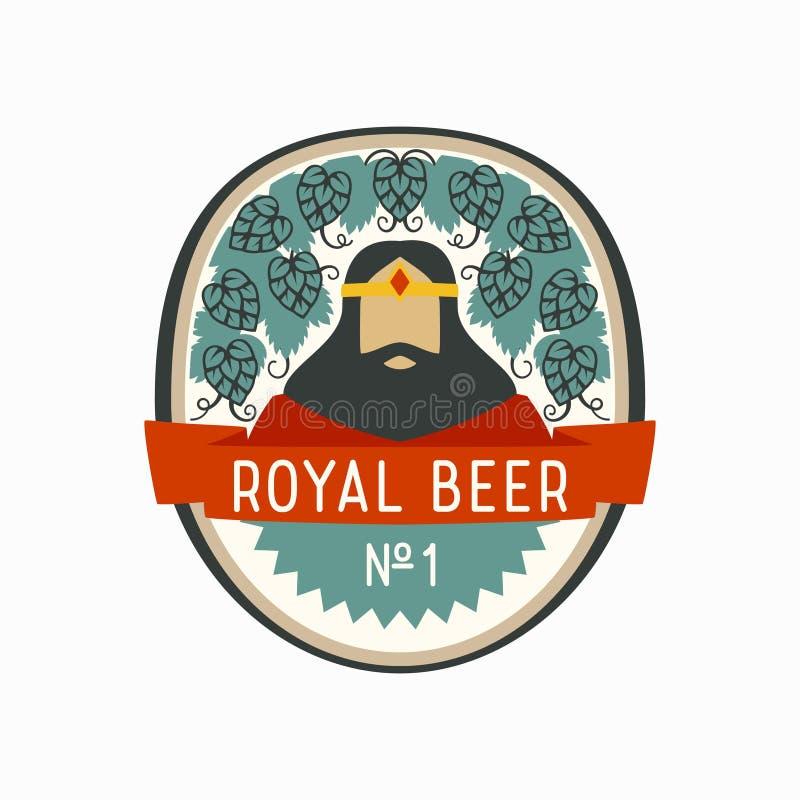 Etichetta reale della birra con re del fumetto ed i coni di luppolo royalty illustrazione gratis