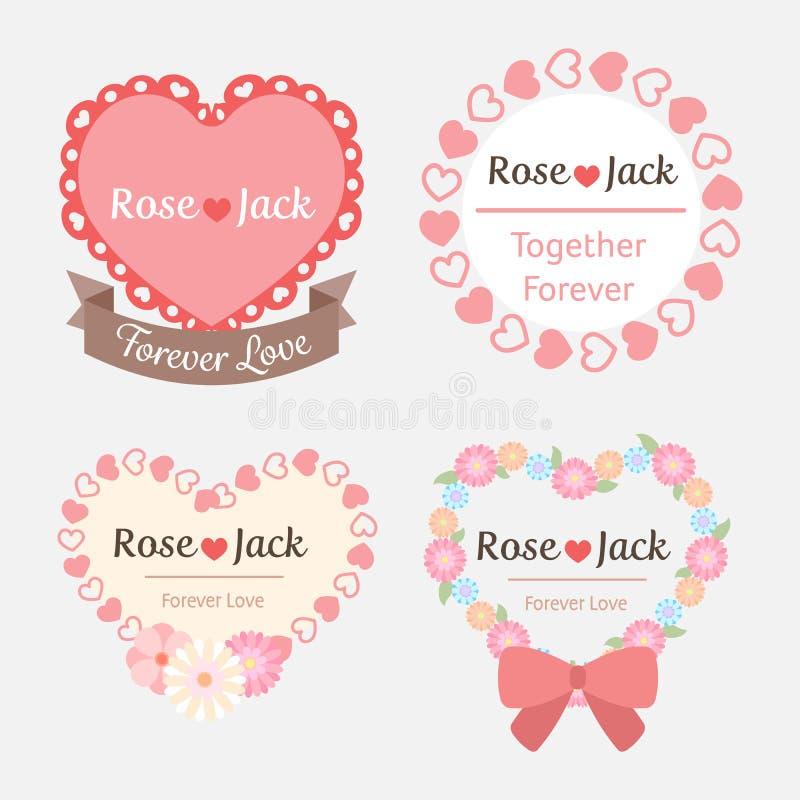Etichetta romantica pastello sveglia di forma del cuore di nozze illustrazione vettoriale