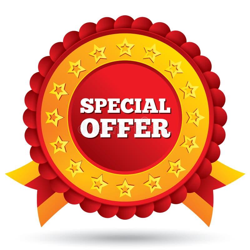 Etichetta rossa di offerta speciale con le stelle ed i nastri royalty illustrazione gratis
