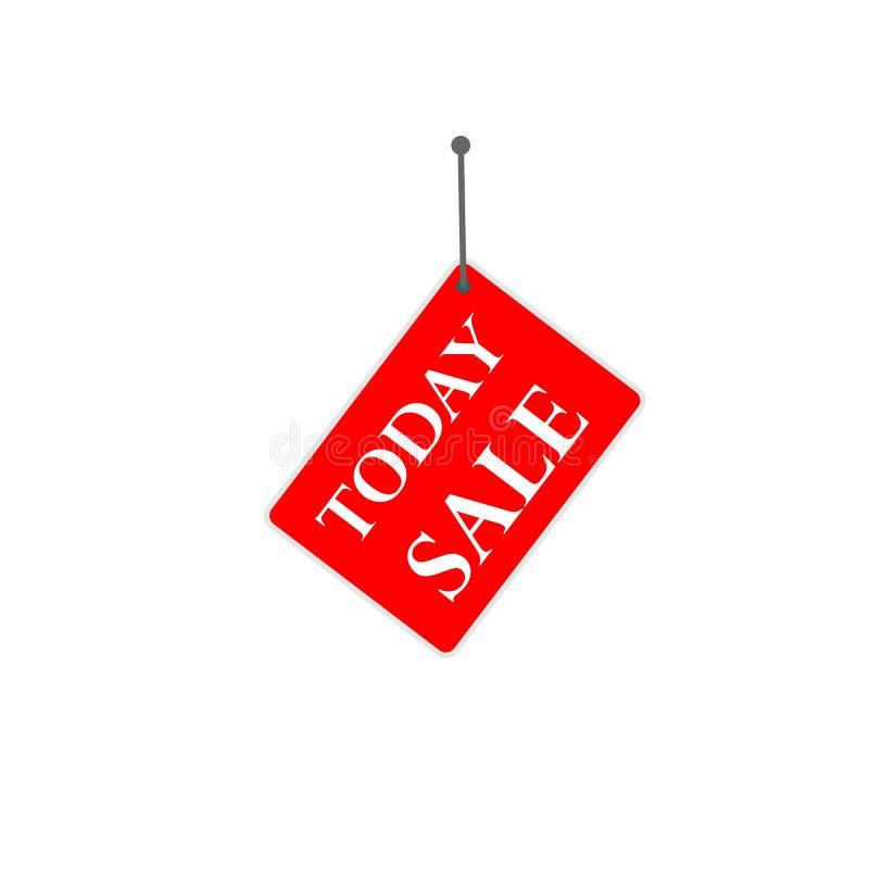 """Etichetta rossa di vendita del segno """"oggi """" illustrazione vettoriale"""