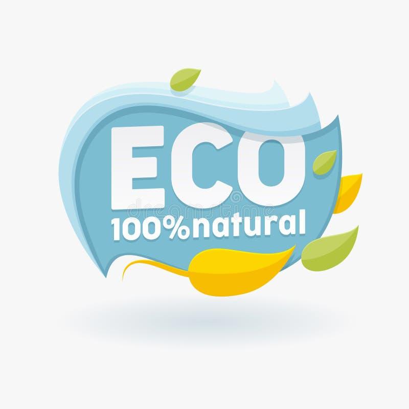 Etichetta sana dell'alimento biologico con le foglie variopinte Etichetta, emblema, logo per il pasto e la bevanda, caffè, ristor illustrazione vettoriale