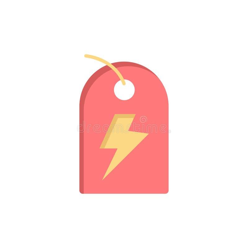 Etichetta, segno, potere, icona piana di colore di energia Modello dell'insegna dell'icona di vettore illustrazione vettoriale