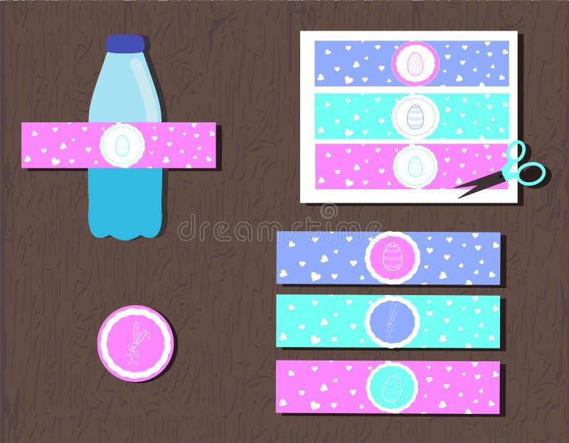 Etichetta stampabile della bottiglia di acqua per la caccia dell'uovo di Pasqua del partito coniglietto e cuori delle siluette di illustrazione di stock